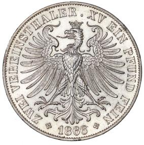 World Coins - Germany. Free city of Frankfurt. AR Double Thaler 1866. AU/UNC