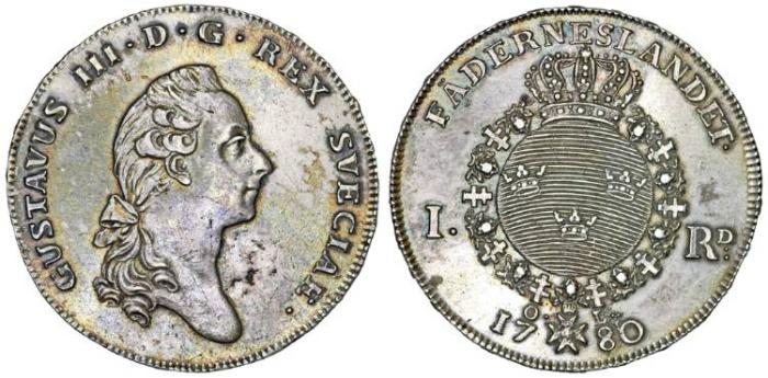 World Coins - Sweden. King Gustav III (1771-1792). Silver Thaler 1780 OL. Choice XF
