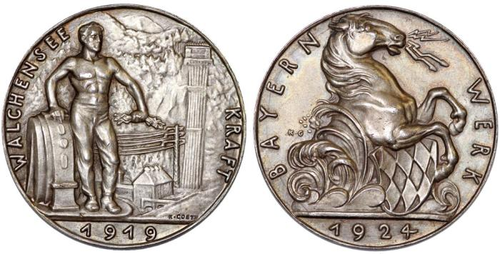 "World Coins - Germany Bavaria (Bayern). AR Medal 1924 ""5th Anniversary of Hydroelectric Plant"". Choice AU"