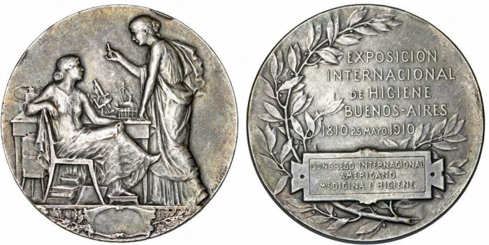 World Coins - Argentina. 100th anniversary of International Hygiene Expo in Buenos Aires. AR Medal 1910. XF