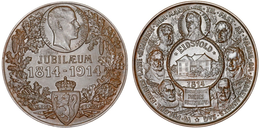"""World Coins - Norway. Haakon VII (1905-1958). AE60 Medal """"100-year of Constitution"""" Choice AU, nice"""