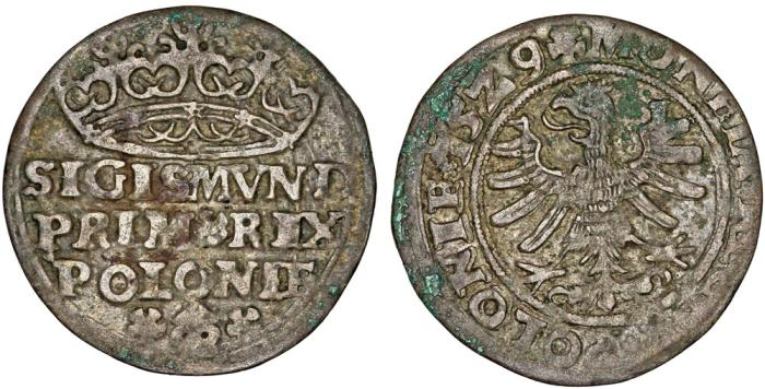 "World Coins - Poland. King Sigismund I ""Old"" (1506-1548). AR Groschen 1529. aVF"