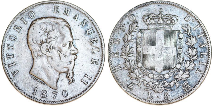 World Coins - Kingdom of Italy. Vittorio Emanuellle II. Very Nice AR 5 Lire 1870R. Fine+