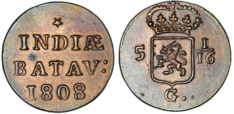 World Coins - Netherlands East Indies. CU  Duit 1808. Nice XF+