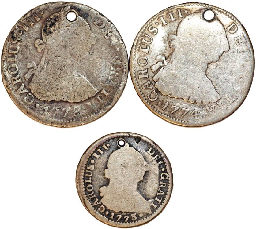 World Coins - Spain. Colonial Period. Lot of 3 Silver coins: 2 Reales 1774 & 1778 and Real 1773. VG- Fine, good dates