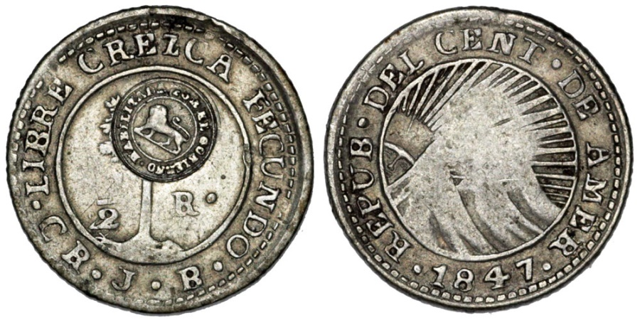 "World Coins - Costa Rica. Republic. Central America AR 1/2 Real CRESCA 1847 with type VI ""lion"" countermark (1849-57). VF"