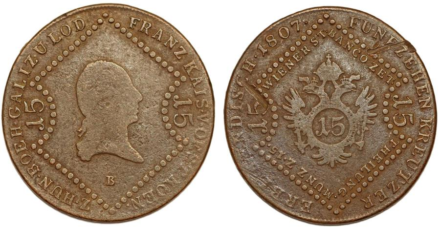 World Coins - Imperial Austria. Hungary. Franz II. Suplemental issue of Napoleonic Wars. Cu 15 Kreuzer 1807 B. about VF