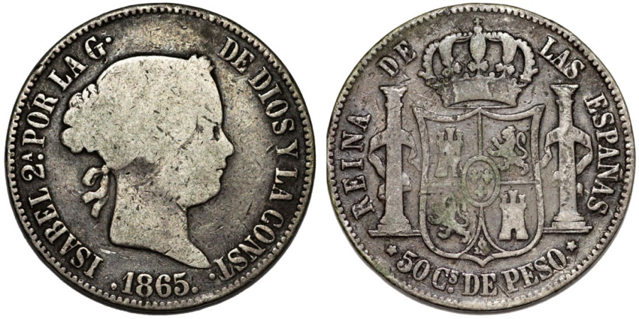 World Coins - Phillippines as Spanish Colony. Isabell II. AR 50 Centavo 1865. RARE aVF