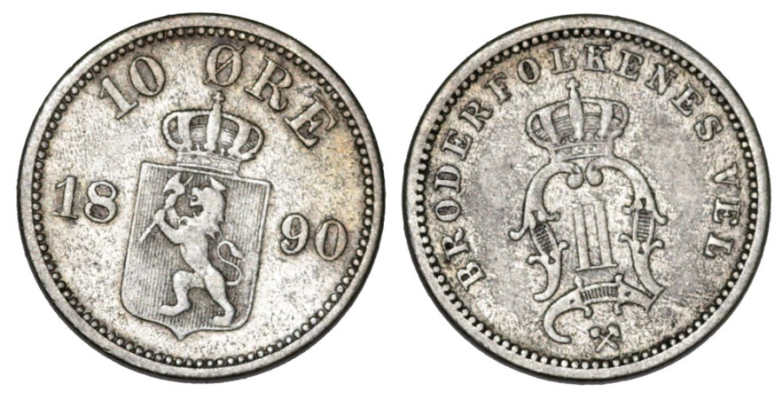 World Coins - Norway. AR 10 Ore 1890. Very Nice VF