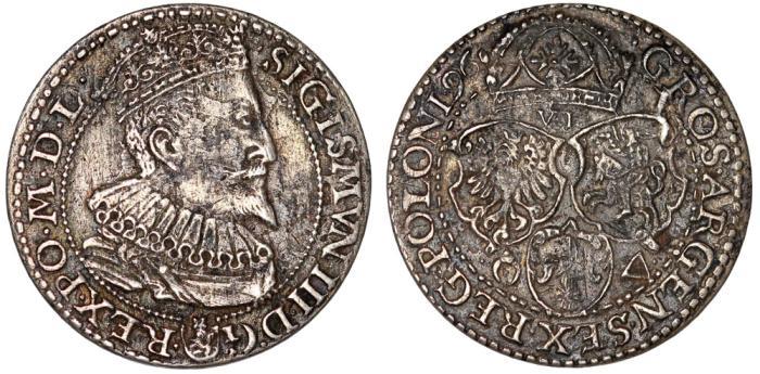 World Coins - Poland. Marienberg. Sigismund III (1587-1632). Silver 6 Groschen 1596. XF