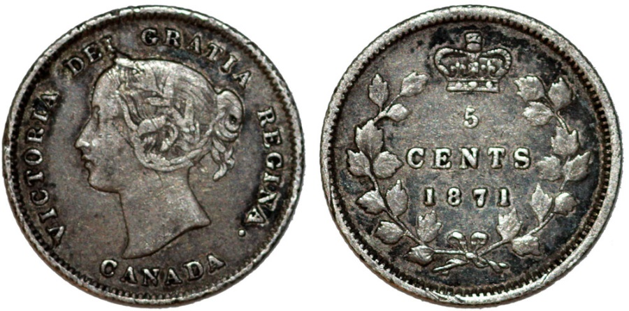 World Coins - Canada. Silver 5 Cents 1871.  Nice VF, toned