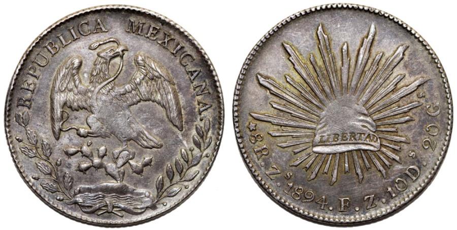 World Coins - Mexico. Republic. AR 8 Reales 1894 Zs FZ. XF, toned