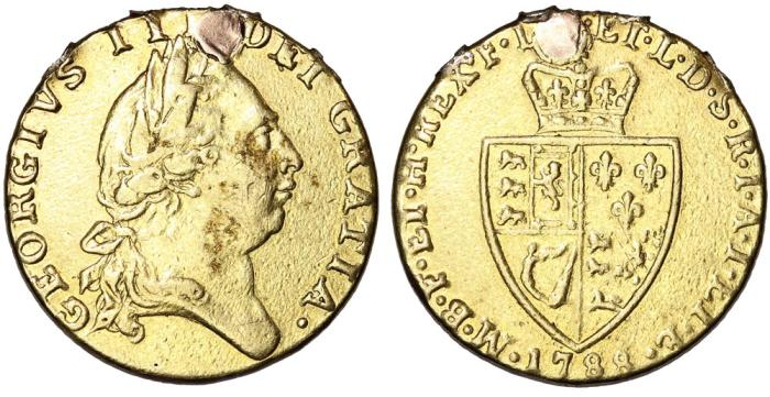 World Coins - Great Britain. KIng George III. Gold Guinea 1788. Good