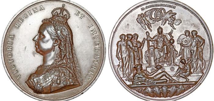 Great Britain: Empress Victoria (1837-1901)  Beautiful Large AE  Commemorative Medal 1887  AU, nicks