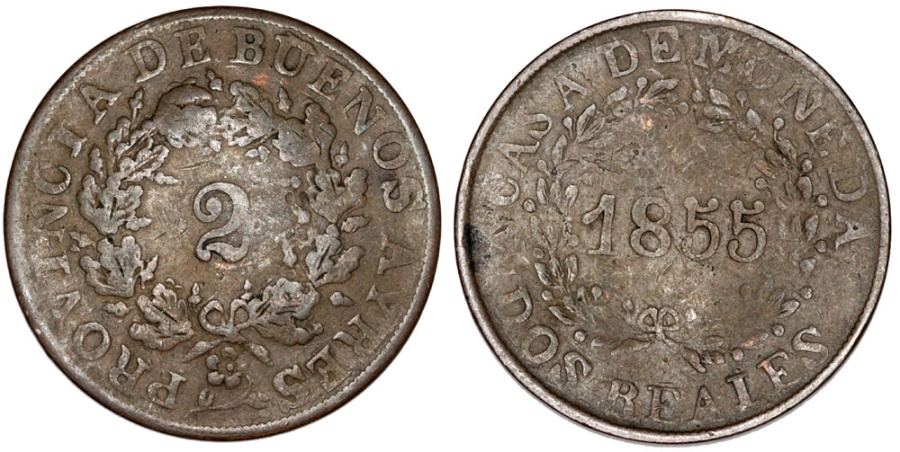 World Coins - Argentina. Province: Buenos Aires. AE 2 Reals 1855. Fine+
