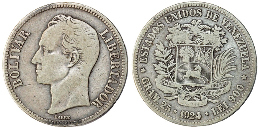 World Coins - Venezuela. Republic. (AR 25 Grams) 5 Bolivars 1924. VF