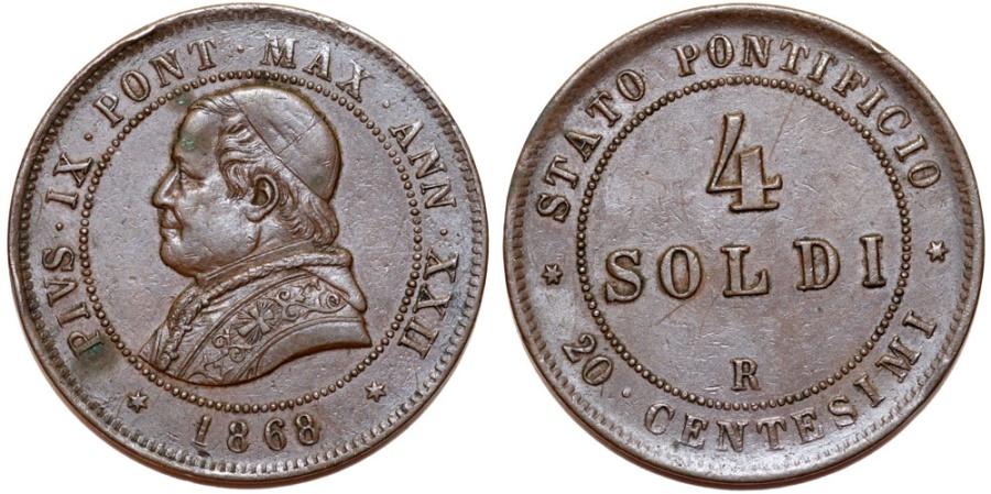 World Coins - Italian Papal States. Rome. Pope Pius IX (1846-1878). AE 4 Soldi 1868 R. AU