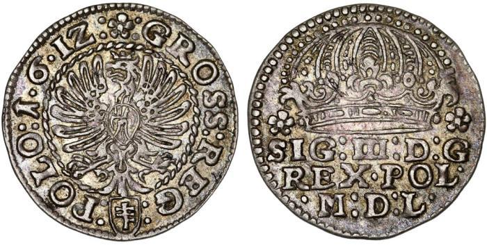 World Coins - Poland. Krakow. Sigismund III (1587-1632). Silver Gross 1612. Choice XF