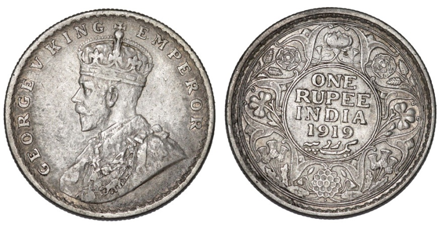 World Coins - British India. George V. AR 1 Rupee 1919B. XF