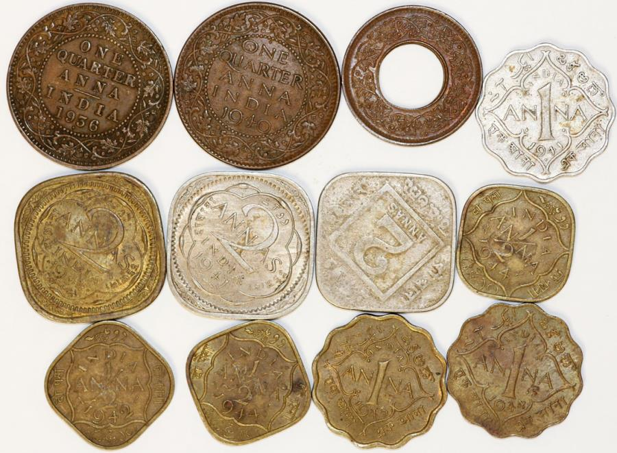 World Coins - British India. Great lot of XX century Minors. Cheap!