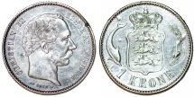 World Coins - Denmark. Christian IX (1863-1907). Silver 1 Kroner 1876. Choice XF