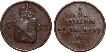 World Coins - Norway under Swedish Rule. Carl XV, 1859-1872. CU 1/2 Skilling 1863. AVF