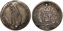 World Coins - Peru. Republic. RARE AR 1 Real 1829/8 JM. Fine