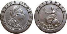 World Coins - Great Britain. George III (1760-1820).  Cu Large/Thick 2 Pence 1797. Nixe XF