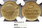 World Coins - Danzig. Free City. B-Al 5 Phennige 1932. NGC MS62