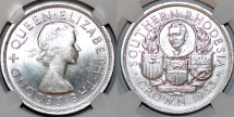 World Coins - British rule of Southern Rhodesia. Scarce Crown 1953. NGC MS62