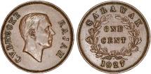 World Coins - Sarawak (North-West Borneo). Charles V Brooke (1917-1946). AE Cent 1927. Nice AU