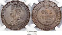 Australia. Commonwealth. George V. CU Penny 1917 -I. NGC AU58 BN