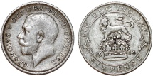 World Coins - Great Britain. King George V (1911-1935) Silver 6 Pence 1914. VF