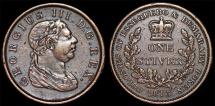 British Essequibo & Demerary (modern Guyana). George III (1760-1820). AE 1 Stiver 1813. Choice XF