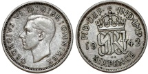 World Coins - Great Britain. King George VI. Silver 6 Pence 1942. XF, toned