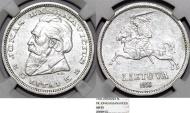 World Coins - Lithuania. Republic. Silver 5 Litai 1936. NGC AU55