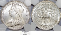 World Coins - Great Britain. Queen Victoria (1837-1901) AR 2 Shillings 1901. NGC MS64