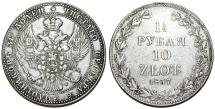 World Coins - Imperial Rusia. Coinage for Poland. Warsaw mint. AR 10 Zloty - 1 1/2 Ruble 1837 MW. VF+, lightly toned