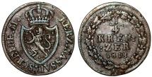 World Coins - Germany. United Nassau. Wilhelm. CU 1/4 Kreuzer 1818. Choice VF