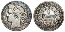 World Coins - France. AR 1 Franc 1888A. VF+