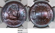 World Coins - Chile. Republic. CU 1 Peso 1952. NGC MS64 RB