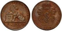 World Coins - Belgium. Kingdom. Leopold I (1831-1865). AE 2 Centimes 1864. Choice VF