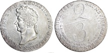 German States:  Hannover. Georg IV. Silver 2/3 Taler 1829 C. Choice AU
