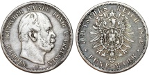 World Coins - Germany. Empire. Prussia. Wilhelm I (1871-1888). Silver 5 Mark 1876 B. Good VF