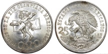 World Coins - Republic of Mexico. Commemorating XIX Olympics - 25 Pesos 1968. Choice UNC