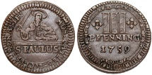 World Coins - Germany. Catherdral Chapter of Munster. Choice Copper 3 Pfenning 1759. Choice XF, patina