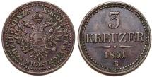 World Coins - Austria-Hungary. Franz I Josef (1848-1916). RARE 3 Kreuzer 1851 B. Choice XF.