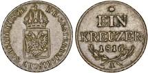 World Coins - Austria. Vienna. Copper 1 Kreuzer 1816 A. Nice XF.