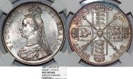 "World Coins - Great Britain. Queen Victoria (1837-1901) AR ""Jubilee"" 2 Florins 1887. NGC UNC details"