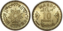 Morocco. French Protectorate. Empire Cherifien. 10 Francs AH1371. Choice UNC